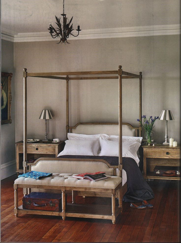 Weathered Oak and Linen French Style Four Poster Bed