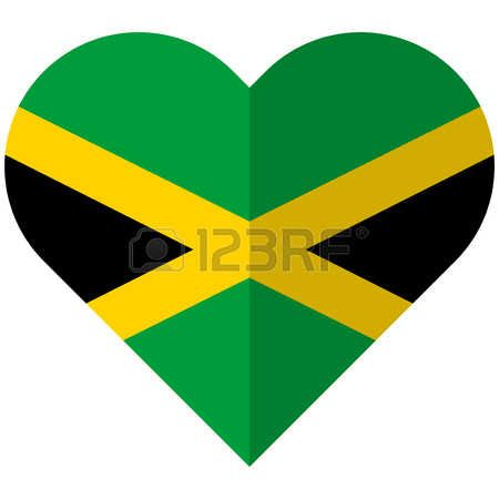Vector image of the Jamaica flat heart flag Vector