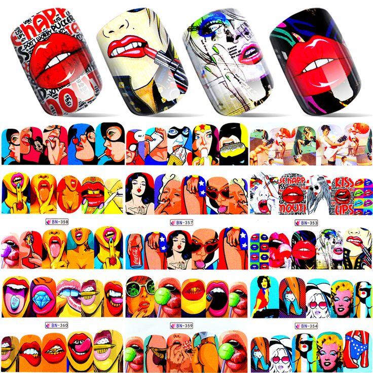 1 Sheet 2017 New Nail Fashion Sticker Full Cover Lips Cute Printing Water Transfer Tips Nail Art Decorations