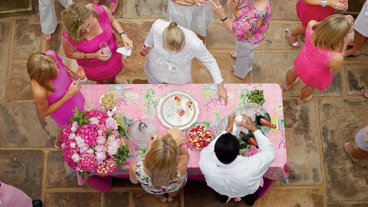 A Ladylike Tea - Southern Living - Hostess Danielle Rollins, author of Soireé: Entertaining with Style celebrates the South in bloom with all shades of pink - from pale to punchy.