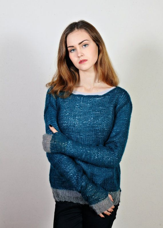 FREE SHIPPING  Mohair knit sweater  Petrooil sweater  Long sleeves  Summer sweater  Womesn's sweater  Elegant sweater  Ready to ship