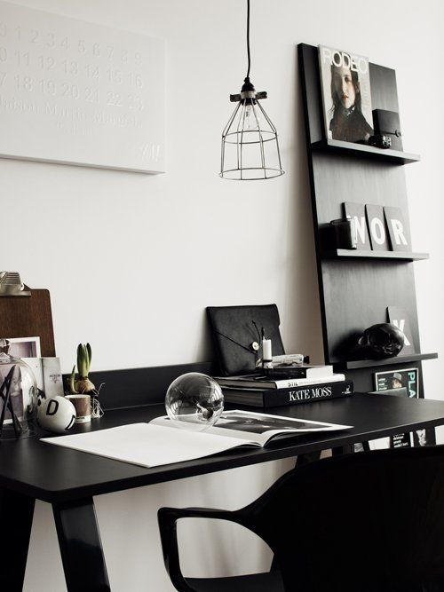 A work space in black! {DIY your own magazine rack}