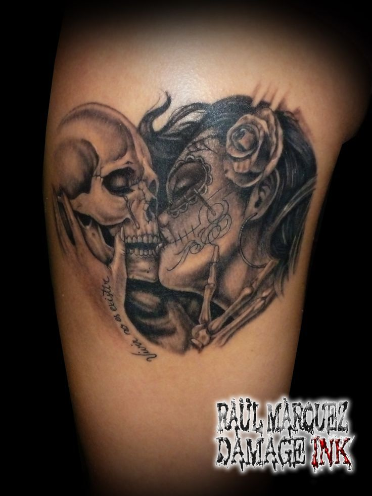 image result for la catrina kissing skull sleeve tattoo. Black Bedroom Furniture Sets. Home Design Ideas