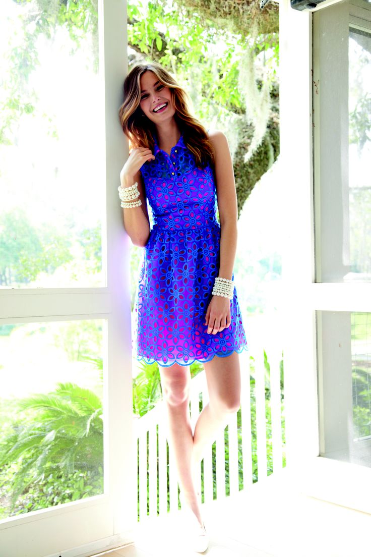 Lilly Pulitzer Fall '13- Pemberton Dress in Royce Blue Daisy Floral Eyelet