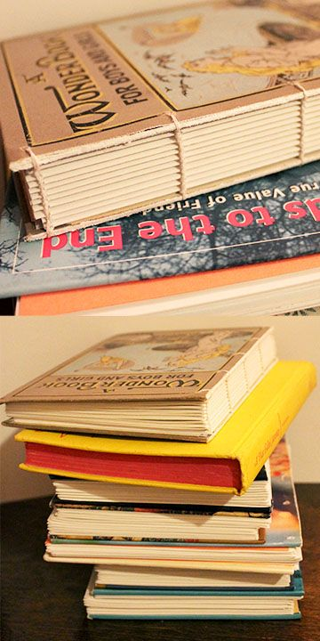 DIY Make your own blank journals or sketchbooks using covers from old books! Cut the cover off a old hardcover book, paint cut edge for neat craftsmanship, drill holes using small drill bit, cut pages, bind using a coptic stitch. Use this great video: http://www.youtube.com/watch?v=S2FRKbQI2kY