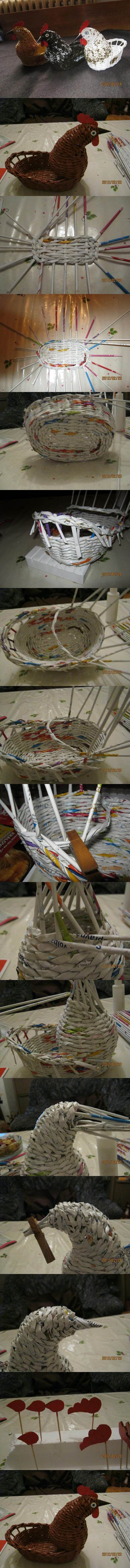 DIY Woven Paper Chicken Easter Basket | iCreativeIdeas.com Like Us on Facebook == https://www.facebook.com/icreativeideas