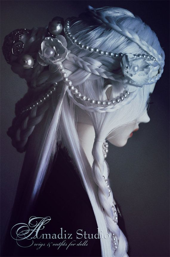 White Undina (fantasy hairstyle wig for BJD)
