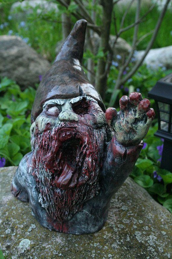 Gnome In Garden: Zombie Garden Gnomes Photograph