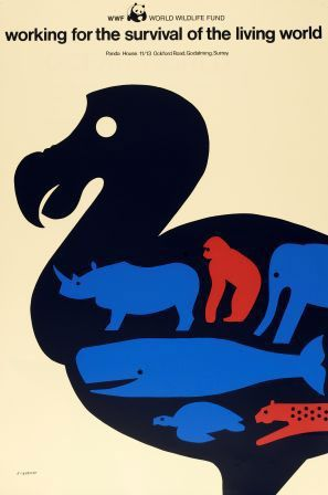 1980's Tom Eckersley poster.1980S Tom, Design Gubbin, 1980 S Tom, Minimal Art, Worldwide Wildlife Fund Post, Graphics Design, Animal Illustration, Visual Art, Tom Eckersley Wwf Post