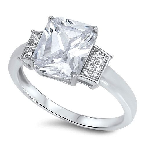 44ct perfect emerald cut russian lab diamond engagement wedding anniversary ring - Wedding Anniversary Rings
