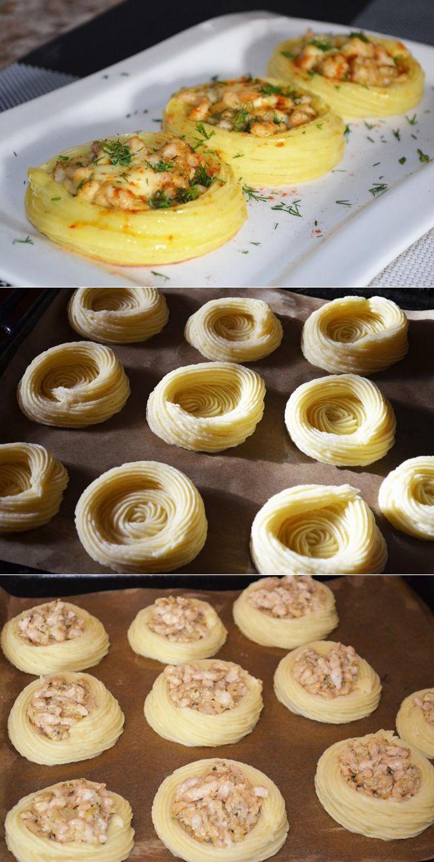 Картофельные гнёзда с курицей - пошаговый рецепт с фото - как приготовить…