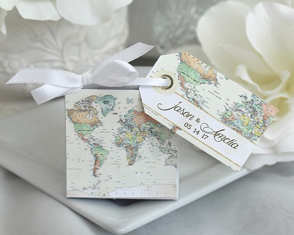 World Map Favor Box For A Travel Themed Wedding Personalized World Map Favor Box Travel Themed Themed Wedding Favors My Wedding Favors Card Table Wedding