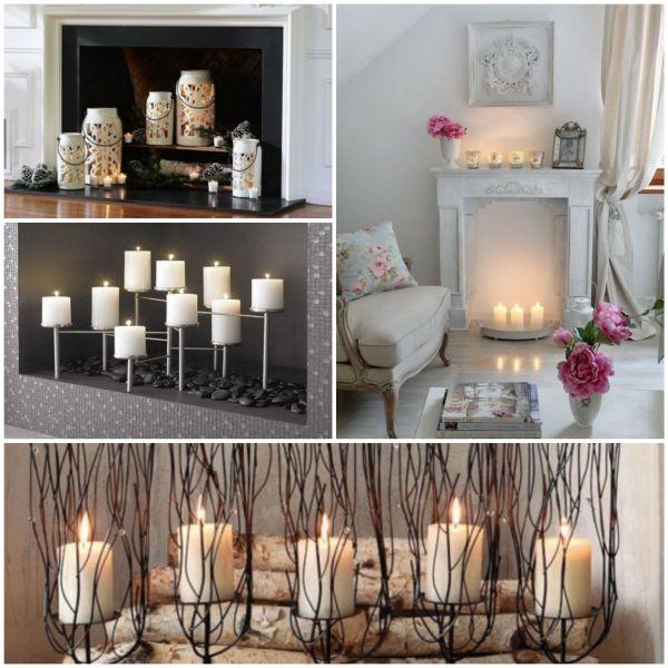 Deko Kamin - romantische Stimmung mit Kerzen und Laternen Ikea - halloween deko wohnzimmer
