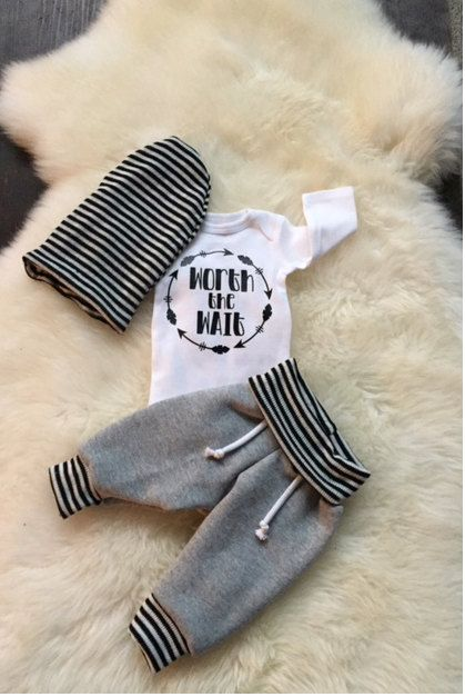 Unisex, Newborn Boy Coming Home Outfit,baby joggers, newborn sweatpants, worth the wait, girl going home outfit by cobaltandcoral on Etsy