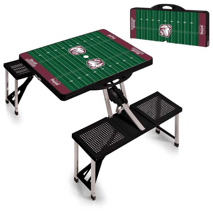 Black Portable Mississippi State Bulldogs Picnic Table Sport is a compact fold-out table with bench seats for 4, take it anywhere. Opt. umbrella. Ships Free. Visit SportsFansPlus.com for Details.
