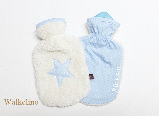 """Wärmflaschen - Kinder-Wärmflasche """"Stern"""" (BW-Teddy/blau/Punkte) - ein Designerstück von Walkelino bei DaWanda"""