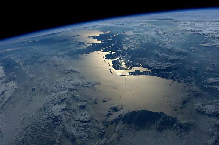 El mar del norte y Holanda. Foto del astronauta Jeff Williams desde la Estación Espacial Internacional