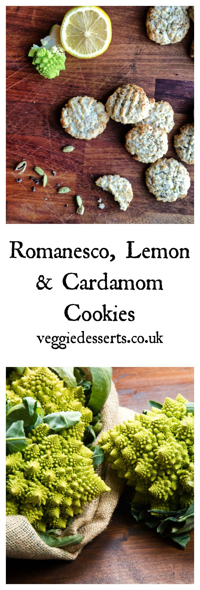 Romanesco Cardamom Lemon Cookies | Veggie Desserts Blog  These delicious and easy biscuits are a fun way to use Romanesco! The brassica is a bit like a cauliflower/broccoli and has a pleasant nutty taste – perfect in cardamom cookies! Easy to make vegan.   veggiedesserts.co.uk