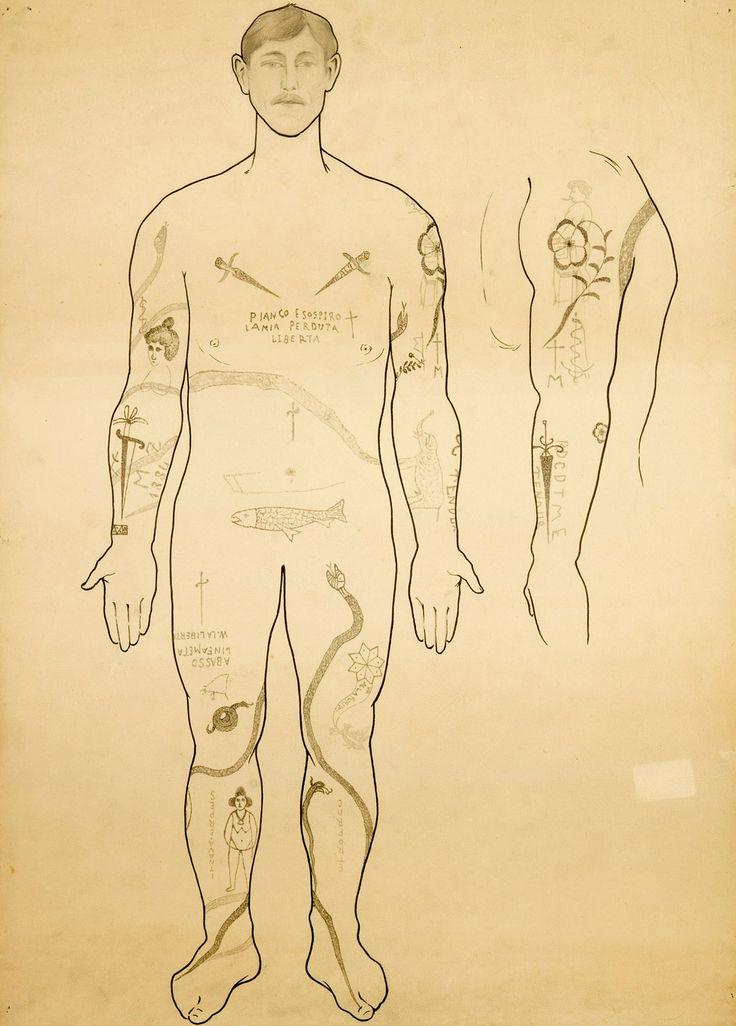 Disegno di uomo tatuato.