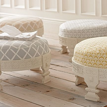 Upholstered stool? Ottoman? Not sure what to call it, other than fabulous. (Custom Upholstered Chakki, Serena & Lily.)