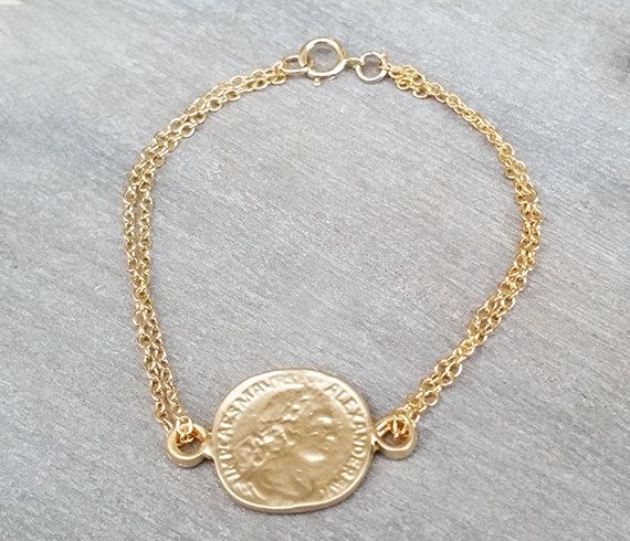 Gold coin bracelet Gold bracelet Chain bracelet by HLcollection