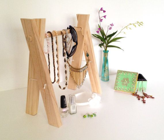 Wooden Jewellery Display Stand Accessory Rack by Feltballgarlands