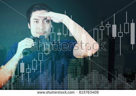 Double exposure of Asian investor with binoculars. Over abstract urban background with financial graph chart, business vision concept.