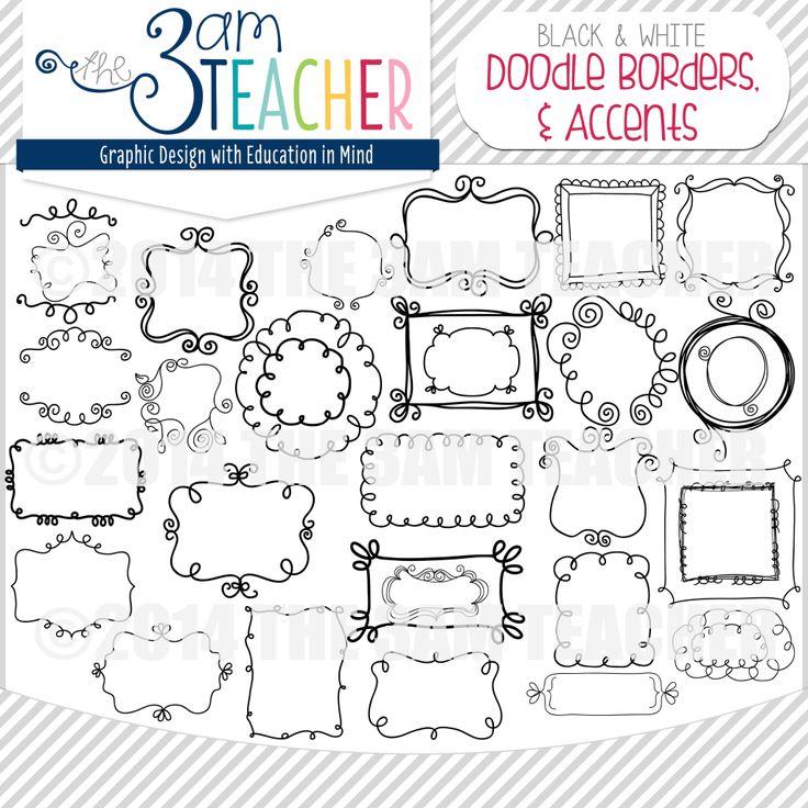 Sweet Doodle Frames & Accents Clipart Set by The 3AM Teacher!! $ Over 100 doodle frames!!  Etsy:https://www.etsy.com/listing/115774776/sweet-doodle-frames-borders-accents-mega  TpT: http://www.teacherspayteachers.com/Product/Sweet-Doodles-Frames-Borders-Lines-Accents-425783