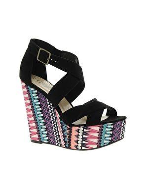 Image 1 - New Look - Sandales à talons hauts compensés avec imprimé style texan