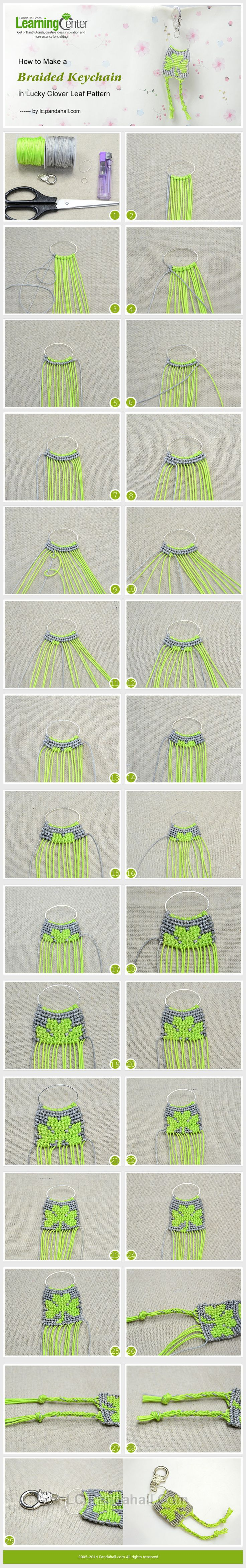 How to Make a Braided Keychain in Lucky Clover Leaf Pattern ou idée de fermoir pour ouvrage en perles tissées