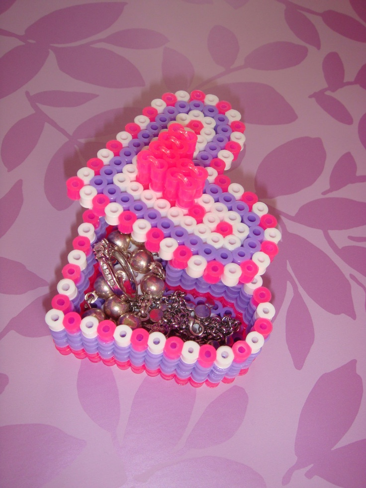 perler bead heart box