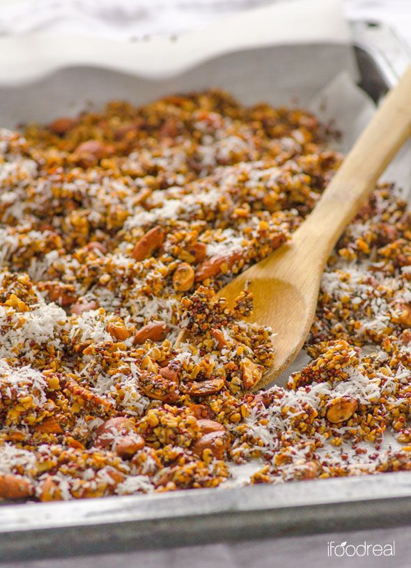 Coconut Quinoa and Chia Granola Recipe -- Roasted, crunchy and low in sugar granola that is delicious in yogurt, cereal or as a snack.
