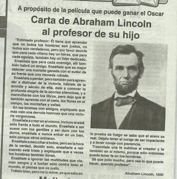 Carta de Abraham Lincoln al profesor de su hijo. Una lección que no debemos olvidar.