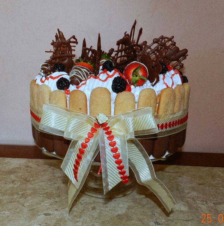Torta com Biscoito Champagne com Chocolate-1