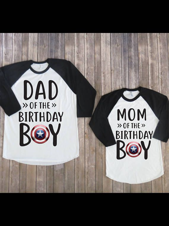 Mom And Dad Of The Birthday Boy Captain America Version Shirt Kids Clothing Parents Matching Shirts