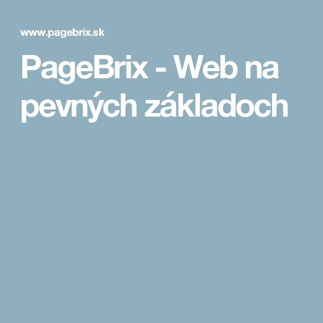 PageBrix - Web na pevných základoch
