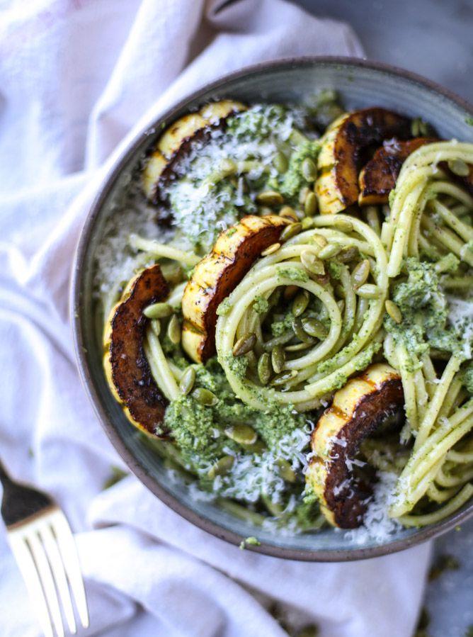 Pumpkin Seed Pesto Pasta with Caramelized Delicata Squash.
