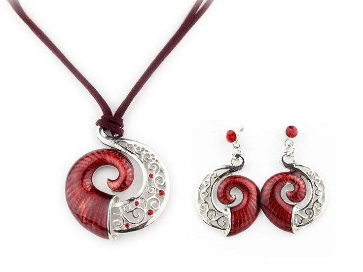 Classic High Quality Swirl Enamel Jewelry Set Alloy Necklaces Waxed Cords Jewelry set Wholesale NS19074