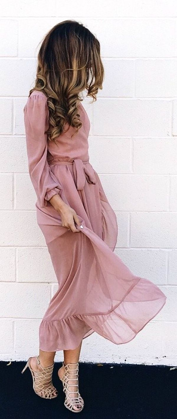 #fall #outfits women's beige long-sleeve midi dress