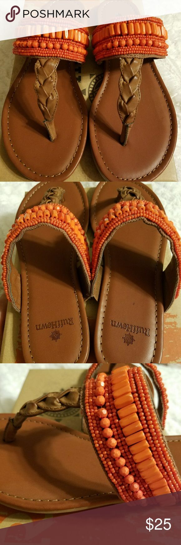 Ruff Hewn sandals NWT -  tan with bright orange/coral detail. Ruff Hewn Shoes