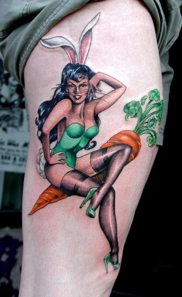 Hannah Aitchison rabbit pinup tat on carrot