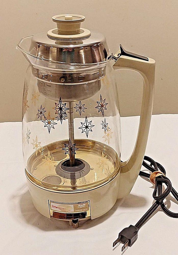 Vintage Proctor Silex Scm Lifelong Glass Percolator Lights Up Coffee Pot Works Coffee Pot Proctor Silex Coffee