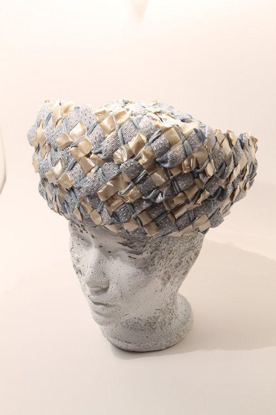 Vintage Straw Hat Blue Straw Hat Straw & by ClockworkRummage, $25.00
