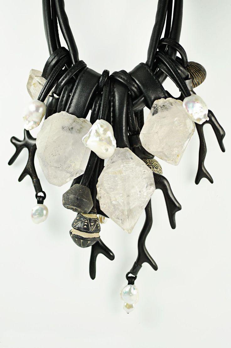 Monies - Mountain Crystal, Ebony, Ceramic, Pearl Necklace