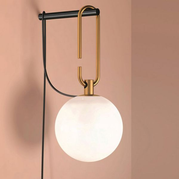 Global Matte White Glass Sconce Light Simplicity 1 Bulb Black And Gold Plug In Wall Mount Lamp 110v Plug In Wall Lamp Wall Mounted Lamps Plug In Wall Lights Wall mounted plug in lamp
