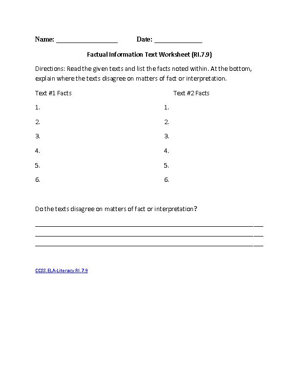 School Worksheets For 7th Graders : Th grade common core reading informational text