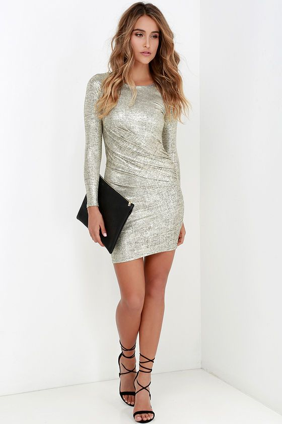 Luxe of My Life Gold Long Sleeve Dress at Lulus.com!
