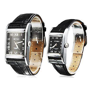 Par de Water Resistant Estilo PU analógicos Relógios Casal de quartzo (preto) – EUR € 23.08
