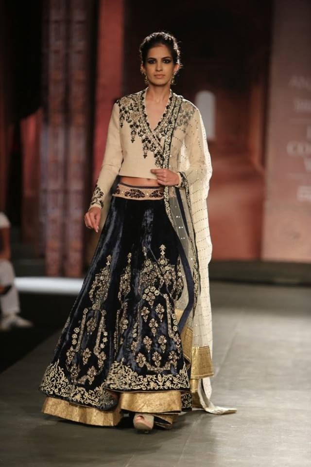 Anju Modi at India Couture Week 2014 - blue velvet lehnga