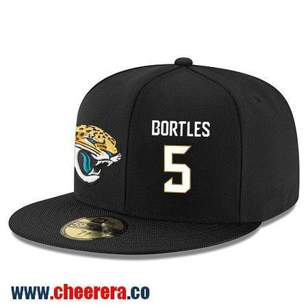 Jacksonville Jaguars #5 Blake Bortles Snapback Cap NFL Player Black with White Number Hat